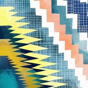 Geometric Ikat diamond in watercolor