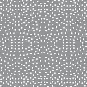 Dotty Eyelet Lace of Icy Cream on Fashion Grey - Small Scale