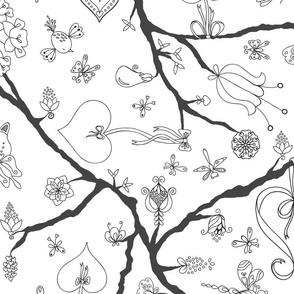 Loving Tree-Black and White-Large