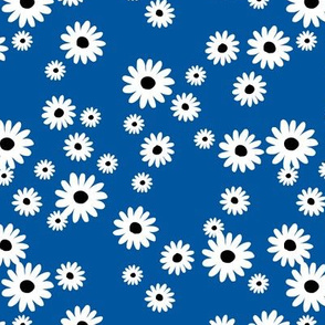 Summer day daisies minimal abstract Scandinavian boho style nursery girls eclectic blue white black retro