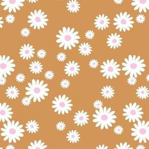 Summer day daisies minimal abstract Scandinavian boho style nursery girls burnt orange golden pink white