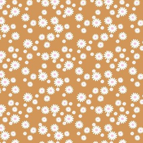 Summer day daisies minimal abstract Scandinavian boho style nursery girls burnt orange golden pink white SMALL