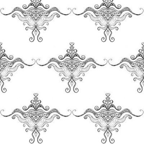 Curly texture damask B&W
