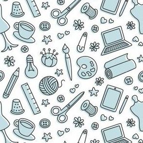Creativity Doodles Blue on White