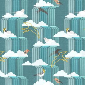Birds in waterfalls, mcm style, blue