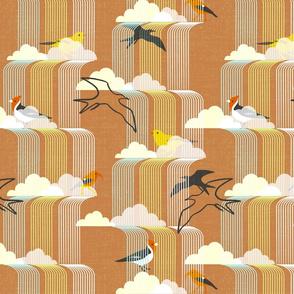 Birds in waterfalls, mcm style, orange