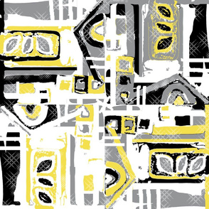 Abstract Blocks yellow and gray