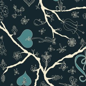Loving Tree-Navy and Cream-Large