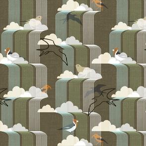 Birds in waterfalls, mcm style, brown