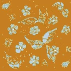 Hand Drawn Jade, Golden Rod, Peacock,  Floral & Leaf Boho Damask Tapestry