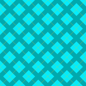 argyle in aqua, teal and gold
