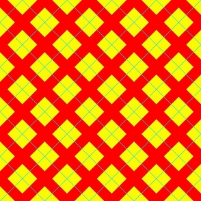 argyle in red, yellow and bright blue