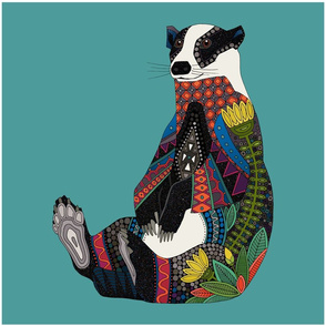 badger turquoise pillow front