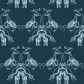 Sighthound Cockatoo Damask White on teal