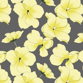 Yellow Flowers On Gray