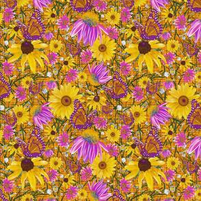 med-Pat's wildflowers on orange weave