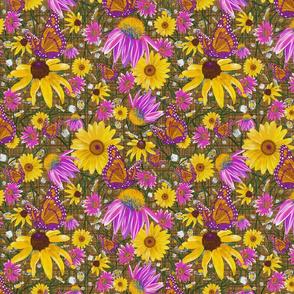 med-Pat's wildflowers on brown weave