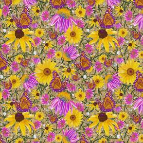 med-Pat's wildflowers on tan burlap weave