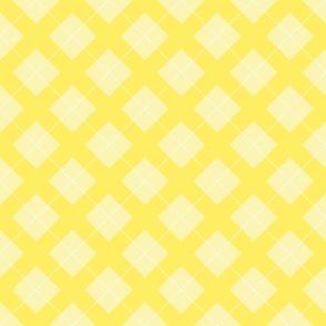 argyle in pastel yellow and white