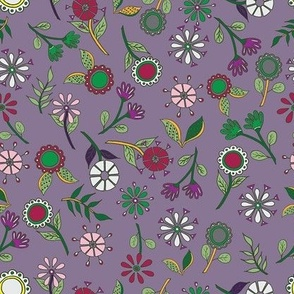 Scattered Floral - Plum