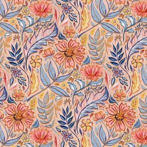 Coral, Pink and Blue Art Nouveau Floral on peach tiny (customer request)