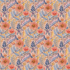 Coral, Pink and Blue Art Nouveau Floral on peach micro (customer request)