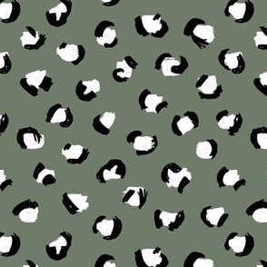 Trendy panther print animals fur modern Scandinavian style raw brush abstract color mix boys camo green black and white