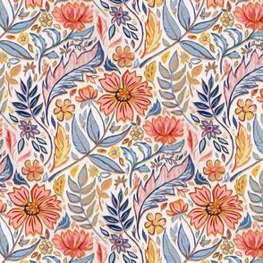 Coral, Pink and Blue Art Nouveau Floral tiny