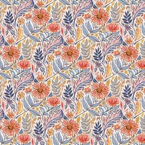 Coral, Pink and Blue Art Nouveau Floral micro