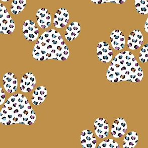 Wild cats and leopard paws animal print design colorful kids nursery ochre