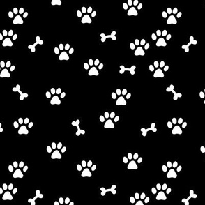 Wild cats and dogs paws and bones animal print design colorful kids nursery monochrome black and white