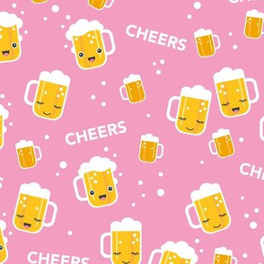 Cheers for beers party drinks traditional german Oktoberfest beer holiday illustration kawaii design pink  LARGE