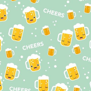Cheers for beers party drinks traditional german Oktoberfest beer holiday illustration kawaii design mint  LARGE