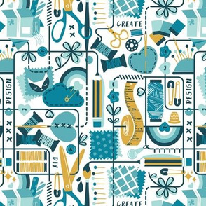 Small scale // We are all connected ♥ // white background teal aqua and goldenrod yellow designing crafting sewing and printing tools dark teal lines