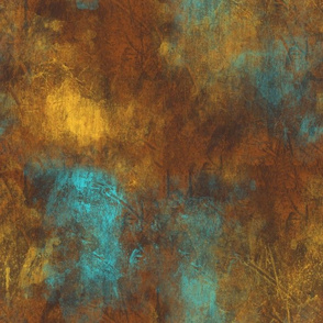 Heavy metal copper rust texture with turquoise