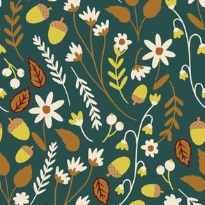 Fall Acorns and Daisies in Teal