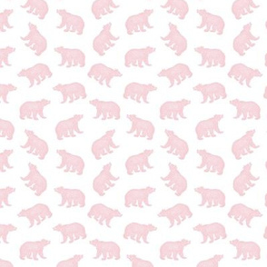 Illustrated Antique Bears in Baby Pink with a White Background (Mini Scale)