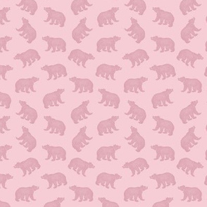 Illustrated Antique Bears in Monotone Pink (Mini Scale)