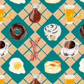breakfast foods waffle diamond plaid - teal green