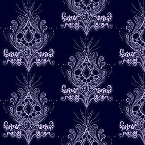 Lovely triffid Damask Whisp on dark blue