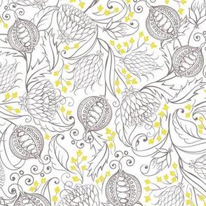 Ultimate Gray Pomegranates Illuminating Yellow Flowers