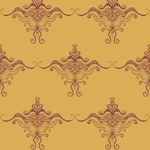 Curly texture damask Burgundy on ocre
