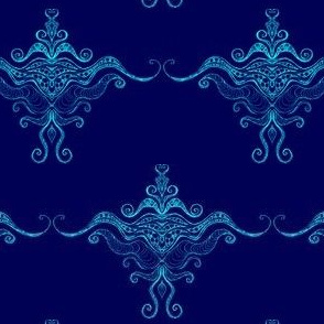 Curly texture damask Blues-