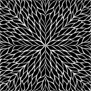 Black leaf tiles on white