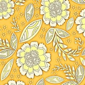 Fantasy Floral, Tea Towel size, goldenrod