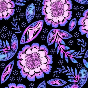 Fantasy Floral, Tea Towel size, black