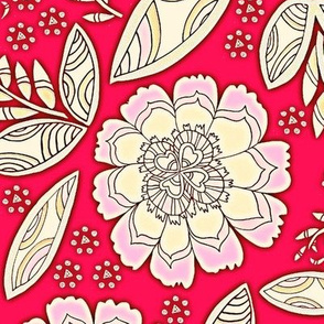 Fantasy Floral, Tablecloth size, red