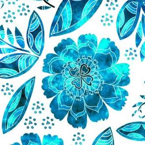 Fantasy Floral, Tablecloth size, blue tones