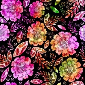 Fantasy Floral, napkin size, watercolored pinks