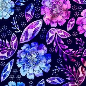 Fantasy Floral, Tea towel size, indigo